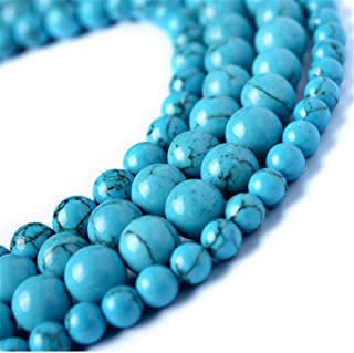 juliewang 2hebras piedra natural redonda sueltas cuentas azul turquesa Gemstone Healing para fabricación de joyería Crafts, 8 mm