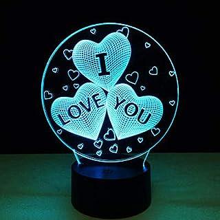 I Love You Night Lights Regalos para niños Mujeres Mamá Chicas Smart Touch y control remoto Lámpara de ilusión 3D de 3 colores Amor romántico Luz para niños Lámparas de escritorio led Te amo