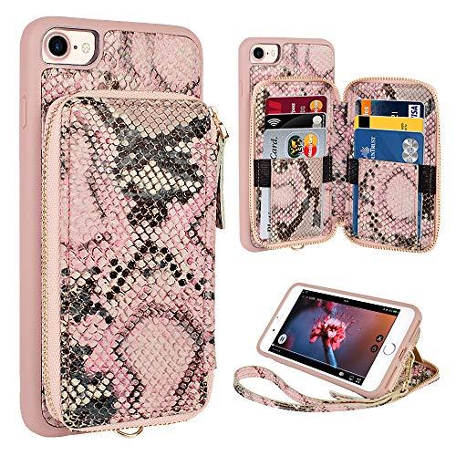 ZVE iPhone 8 Wallet Case,iPhone 7 case, iPhone 8 Case with Credit Card Holder Slot Wrist Strap Protective Handbag Purse Zipper Wallet Case for Apple iPhone 8 7 4.7 inch - Pink Snake Skin