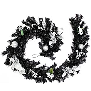 WeRChristmas Decorated Garland Christmas Decoration, 6 feet - Black/Silver