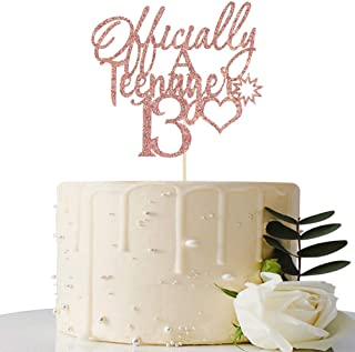 Rose Gold Glitter Officially A Teenager 13 Cake Topper - 13th Birthday Cake Decorations - 13th Birthday Party Decorations ...