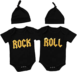 Aslaylme Twins Baby Clothes Baby Boy Gentleman Outfit Set with Hat