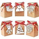 ZFYM 24 Hojas de Papel Kraft Bolsas de Dulces de Navidad Navidad Cajas de Regalo de Almacenamiento Bolsas Seguro y reciclable Duradero y sin Olor