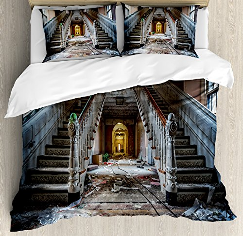 Ambesonne Rustic Duvet Cover Set, Destroyed Main Entrance Hallway of Ravaged Opera House with Symmetric Stairs Photo, Decorative 3 Piece Bedding Set with 2 Pillow Shams, King Size, Brown Beige