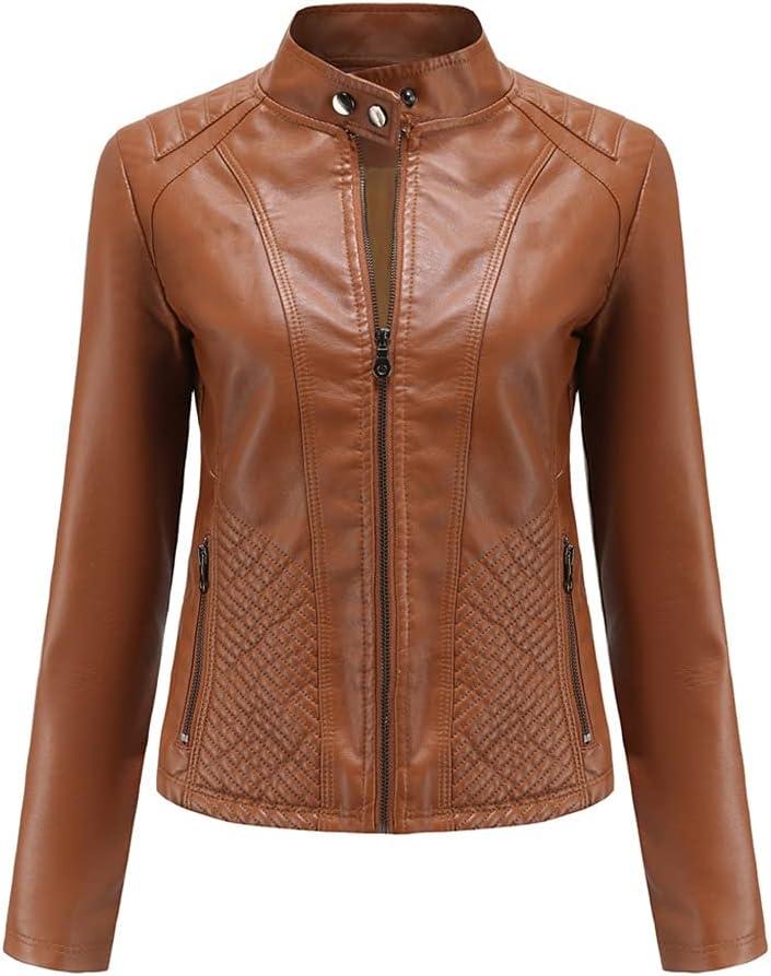 JJZXC Women's Leather Jacket Plus Size Stand Collar Zipper Black Faux Leather Jacket Slim Style Autumn Female Outwear (Color : Camel, Size : M code)