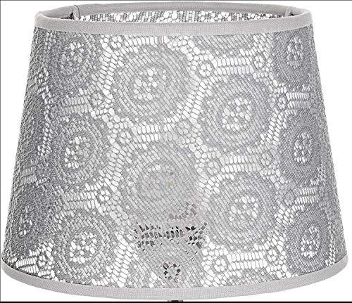 Konischer Lampenschirm Grau für Nachttischlampe Tischleuchte E14 Spitzen-Stoff Schirm klein WILLOW