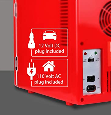 Coca-Cola KWC4 KWC-4 4 Liter/6 Can Portable Fridge/Mini Cooler for Food, Beverages, Home, Office, Dorm, Car, Boat-AC/DC Plugs