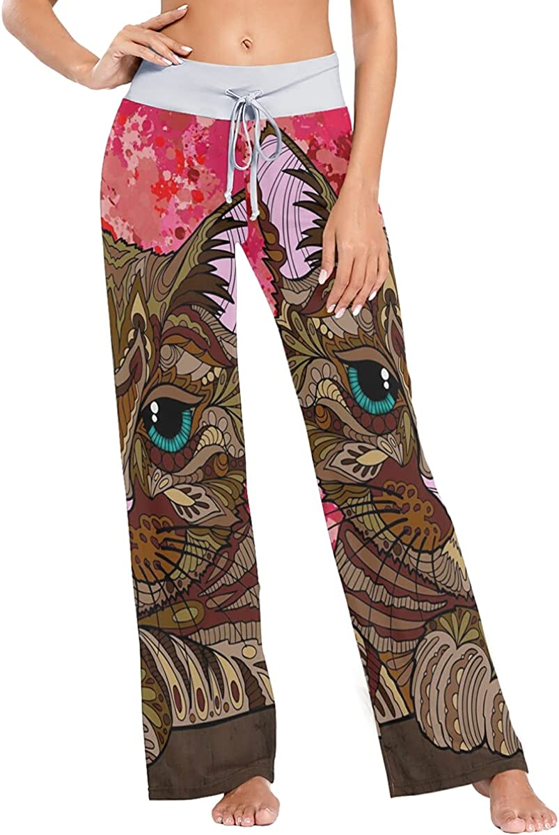 Cute Cat Pajama Pants Stretch Now on sale Sleep Wide Leg Bot Trousers At the price Lounge