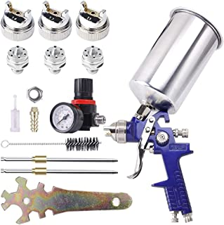 BANG4BUCK Professional HVLP Gravity Feed Air Spray Gun, 1.4mm 1.7mm 2.5mm Nozzles, 1000cc Aluminum Cup with Gauge for Auto Paint, Primer, Clear/Top Coat & Touch-Up
