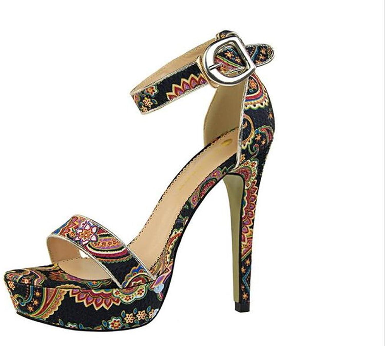 Summer National High-Heeled Printed Platform Women's Sandals,Black,37