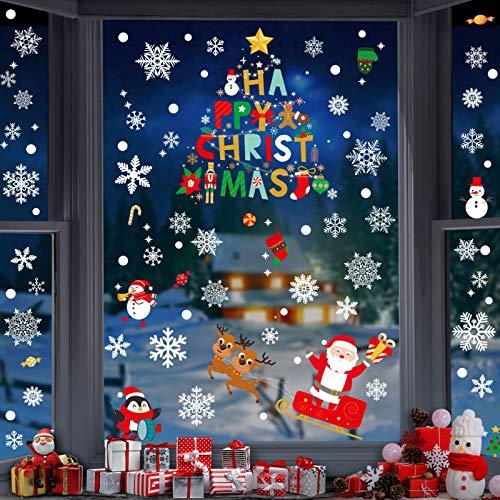 Lifelf Weihnachten Aufkleber Sticker,Fensterdeko mit Schneemann Weihnachtsmann Schneeflocke Rodelschlitten Tannenbaum Rentier Weihnachtsgeschenk, Fensteraufkleber für Zuhause Tür Vitrinen Schaufenster