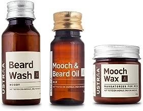 Ustraa Mooch and Beard Oil 4X4, Mooch Wax and Woody Beard Wash (Pack of 3)