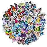 50 PCS Cute VSCO Butterfly Stickers, Waterproof Stickers for Laptop, Computer, Hydroflasks, Water Bottles, Piano, Helmet, Skateboard, Luggage, Car, Aesthetic Vinyl Stickers for Kids, Girls, Adults