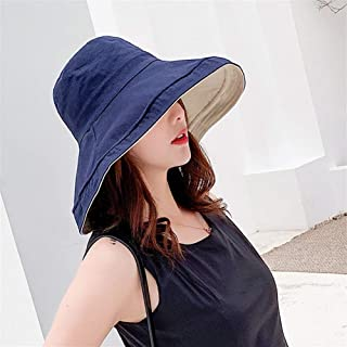 ZWHMZ Hat Female Korean Version of Double-Sided Solid Color Wild Fisherman hat Travel Big Along The Sun hat Collapsible hat Wholesale (Color : Navy, Size : Adjustable)