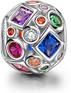 Christmas Charms Gifts Summer Rainbow 925 Sterling Silver Colorful Beads Openwork Bead Charm Great for Bracelet and Necklace Jewelry