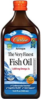 Carlson - The Very Finest Fish Oil, 1600 mg Omega-3s, Liquid Fish Oil Supplement, Norwegian Fish Oil, Wild-Caught, Sustain...