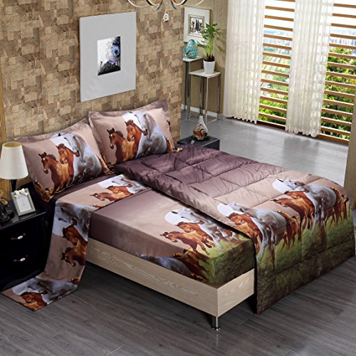 5 Piece Set Goose Down Alternative Comforter 3D Horse Print Wrinkle,Fade Resistant Egyptian Cotton Quality Ultra Soft Matching 4-Piece Bed Sheet Set ,Flat and Fitted Sheet Pillow Case Queen (Horse)