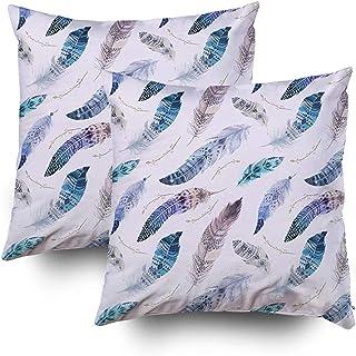 Ducan Lincoln Pillow Case 2PC 18X18 PulgadasFunda De Almohada, Fundas De Almohada para Sofá Color Agua Arte Ilustraciones Fondo Pájaro Bohemio Boho Chic Color Ditsy D Cuadrado