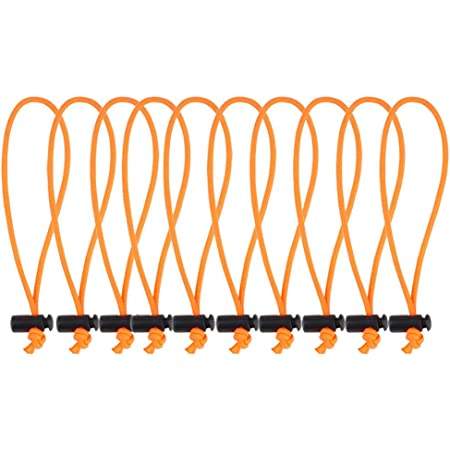 """POWRIG 6"""" Bungee Cords Adjustable Cable Ties Cable management Reusable -Orange (10-pack)"""