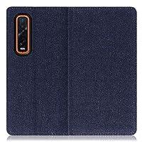 LOOF Denim OPPO Find X2 Pro OPG01 ケース 手帳型 カバー スマホケース デニム生地 横入れ カード収納付 スタンド機能付 パス入れ 手帳型ケース 手帳型カバー ベルトなし おしゃれ シンプル ブランド (ブルー)