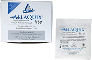 AllaQuix Lite Stop Bleeding Gauze - Calcium Alginate Wound Dressing (Large 2-inch Square) First Aid Hemostatic Gauze (Blood Clotting Bandage) - Box of 20