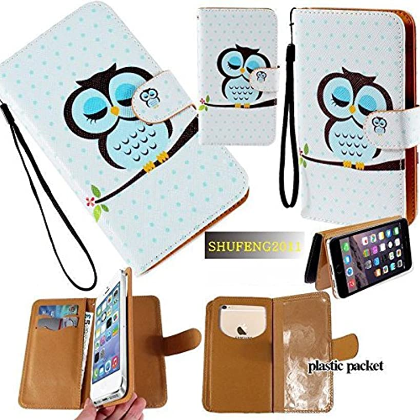 Universal PU Leather Purse/Clutch/Pouch/Wallet Fits Apple Samsung LG Motorola etc. Women's Cute Wristlet Strap Flip Case Owl in A Nap - Small. Fits The Models Below:
