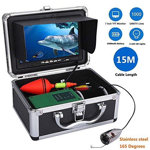 shengshiyujia Equipo subacuático de la cámara de vídeo de la Pesca de 15M 1000tvl 6 PCS Luces LED con el Monitor de Color de 7 Pulgadas