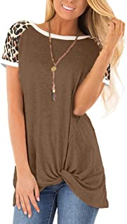 MOPOOGOSS Women's Round Neck Leopard Long Sleeve Color Block Casual Loose T-Shirt Tops Tee