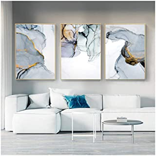 Kkglo 3Pcs Abstract Canvas Gold Silver Color Marble Vein Painting Poster Print On Painting Wall Art Pictures For Living Ro...