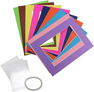 Pack of 25 Mixed Colors Pre-Cut 3.5x5 Picture Mat Photo White Core Bevel Art Mats Brand Premier Acid-Free Frames White Core Bevel Cut Matte Frames for Photo