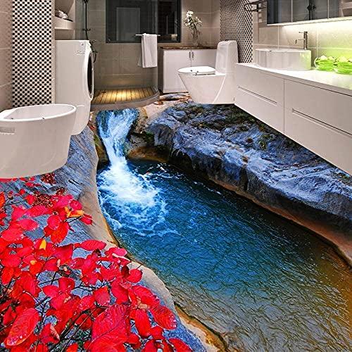 Papel tapiz fotográfico 3D Mountain Streams Hojas rojas Inodoros Baño 3D Azulejos de suelo Murales PVC Papel de pared-250x175cm