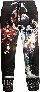 Mic-hael Jac-kson Mens Classic Elastic Waist Drawstring Sweatpants Joggers Hip-hop Sweat Pants with Pockets