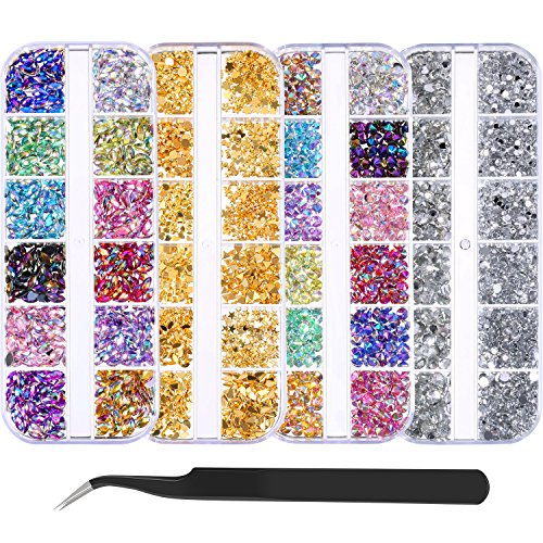 Bememo 5900 Pieces (4 Boxes) Nail Art Rhinestones Kit Nail Rhinestones with 1 Piece 1 Pick up Tweezers, Multicolor Nail...