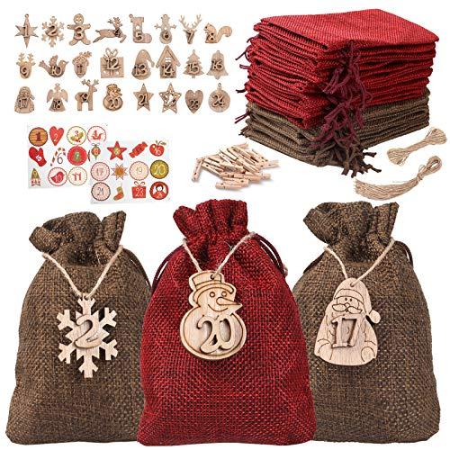 Hoiny Christmas Advent Calendar, 24pcs Advent Calendar Bags for Filling, Xmas Countdown Calendar Fabric Bag, DIY Advent Calendar Set, with 24pcs Wooden Tags,24 Clips and 10M Jute Cord