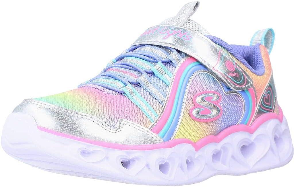 Skechers Unisex-Child Max 75% OFF Japan's largest assortment Heart Lux Lights-Rainbow Sneaker