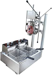 Manual Spanish Maker Machine w/Stand Commercial Manual Vertical 3L Churros Donut Machine 110V w/ 6/12L Fryer Commercial Use for Cake Room Coffee Shop Bakery Equipment (US Shipping) (With 12L fryer)