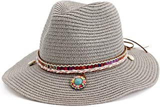 Summer Straw Fedora Wide Brim Jazz Hats with Gem Black Sun Protection Trilby Cap for Men Women Beach Boater Hat Chapeau Femme` TuanTuan (Color : Gray, Size : 56-58CM)