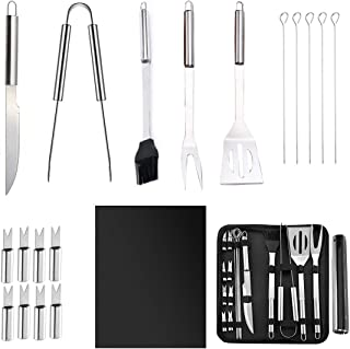 Bisgear 20pcs BBQ Grill Tools Set - Outdoor Camping Stainless Steel Barbecue Grilling Accessories Kit with Utensils Carrying Case, Includes Spatula, Tongs, Knife, Grill Mat Copper (19pc Grill Set)