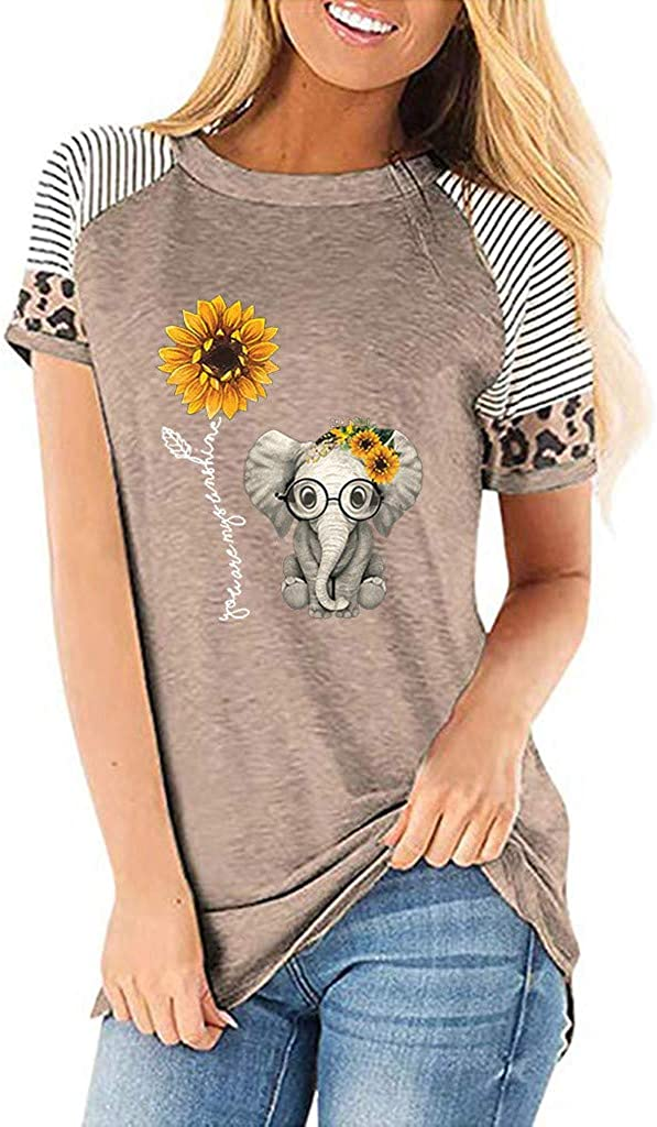 FABIURT Womens Summer Tops,Women Fashion Graphic Printed Short Sleeve T Shirts Casual Loose Colorblock Blouse Tee Tops