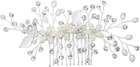 Miallo Bridal Hair Comb Headpiece Crystal Hand Matte Petals for Women (Silver)