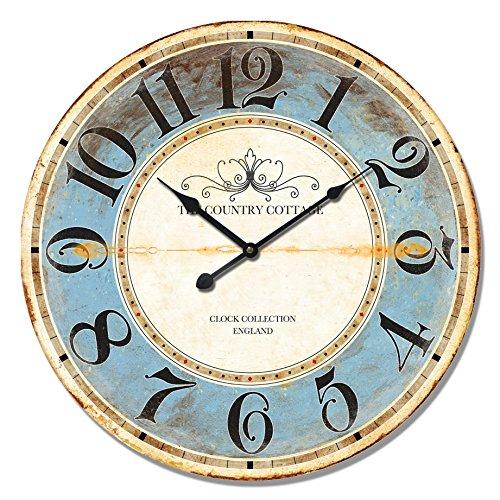 Alice's Collection – Reloj de Pared Redondo Grande de Madera Vintage Época...