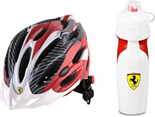 Ferrari Adult Sports Bicycle Cycling, Road/ Mountain Helmet, Protecting, Lightweight, White/Red Bundled with Premium Squeeze Sports Water Bottle Deluxe Version (White and Red)