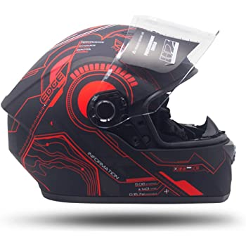 CASCO Motocicleta COMPLETO INTEGRAL Marca EDGE - HUB EG500 - Cerrado Visor ANTIVAHO Certificado DOT Moto (Rojo, M)