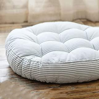 Redsun Cotton Linen Round Chair Cushion,Floor Pillow Cushion Round Stuffed Cushion,Thick Stripe Tatami Futon Seat Cushion Throw Pillows -Gray Diameter:47cm(19inch)