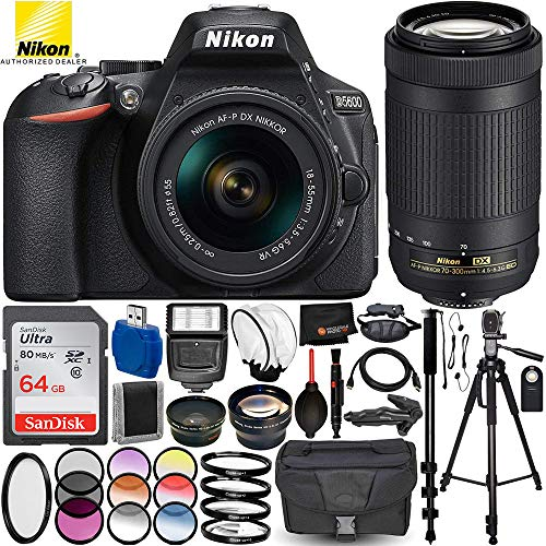 """Nikon D5600 DSLR Camera with AF-P 18-55mm VR & 70-300mm G ED Lenses - 22PC Accessory Bundle Includes 3PC Filter Kit + SanDisk Ultra 64GB Memory Card + 72"""" Full-Size Tripod + Digital Slave Flash + MORE"""