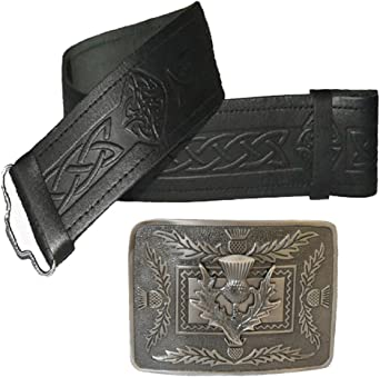 Leather Kilt Belt Embossed and Antique Thistle Buckle