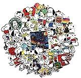 GSNY Pegatinas de Graffiti de Snoopy de Dibujos Animados, Pegatinas de protección Solar Impermeables para Coche, Pegatinas de decoración para Maletas de Equipaje de Coche eléctrico, 62 Hojas