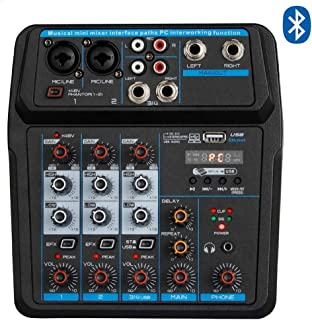 Professional Wireless Audio Mixer Sound Board-4 Channel Digital Bluetooth Computer Compatible Input SANFANX DJ Controller Sound Mixer 48V Phantom Power Microphone in, Stereo DJ Streaming (M4)