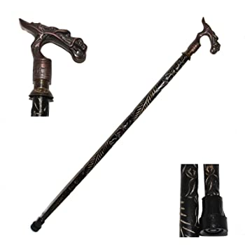 SOLID DRAGON HEAD HANDLE BLACK WOODEN CANE WALKING STICK FOLDING 3 PIECES CANE