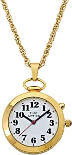 TimeOptics Women's Talking Gold-Tone Pendant Alarm Watch